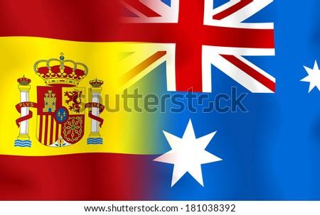 Soccer 2014 ( Football)  Span and Australia - stock photo