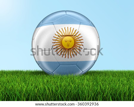 Soccer football with Argentinian flag. Image with clipping path - stock photo