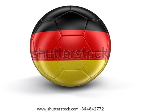 Soccer football with German flag. Image with clipping path - stock photo