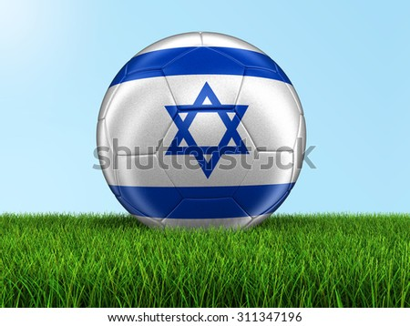 Soccer football with Israeli flag on grass. Image with clipping path - stock photo