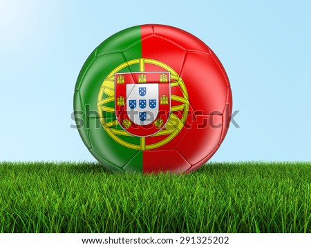 Soccer football with Portuguese flag. Image with clipping path - stock photo