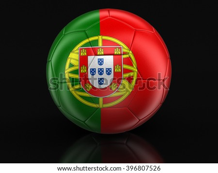 Soccer football with Portuguese flag. Image with clipping path