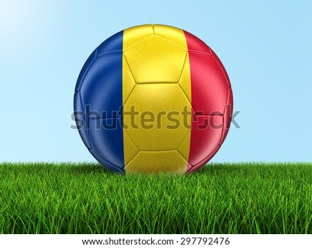 Soccer football with Romanian flag on grass. Image with clipping path - stock photo