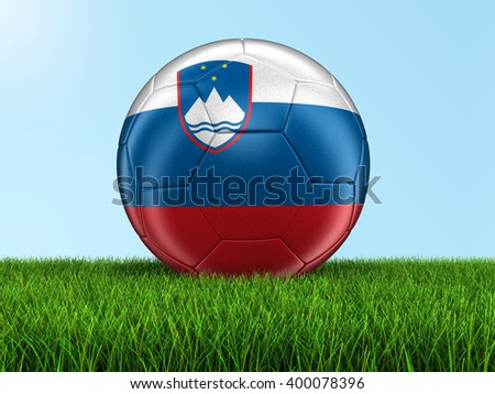 Soccer football with Slovene flag. Image with clipping path - stock photo