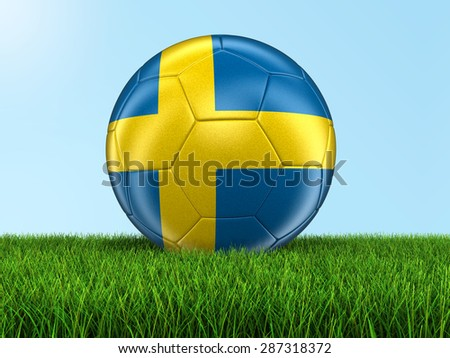 Soccer football with Swedish flag on grass. Image with clipping path - stock photo