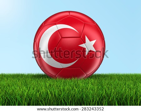 Soccer football with Turkish flag on grass. Image with clipping path - stock photo