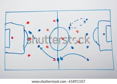 soccer game plan on whiteboard - stock photo