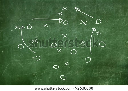 Soccer game strategy drawn - stock photo