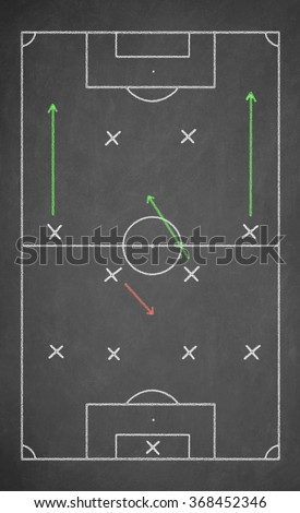 Soccer game strategy drawn with chalk on a blackboard. Scheme 4-4-2 - stock photo
