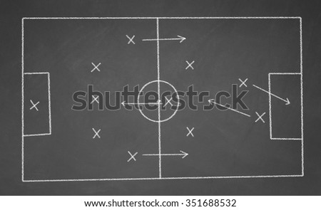 Soccer game strategy drawn with white chalk on a blackboard. - stock photo