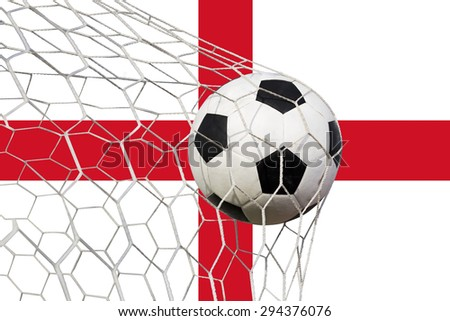 Soccer Goal. English flag with a soccer ball in a net - stock photo