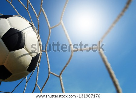 soccer goal football net win winner champion sport game background for design - stock photo