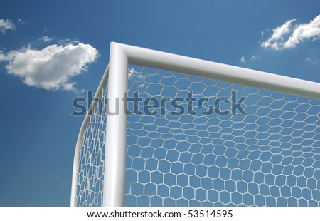 Soccer goal on the sky background, top corner - stock photo