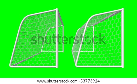 soccer goal side view isolated on green background - stock photo