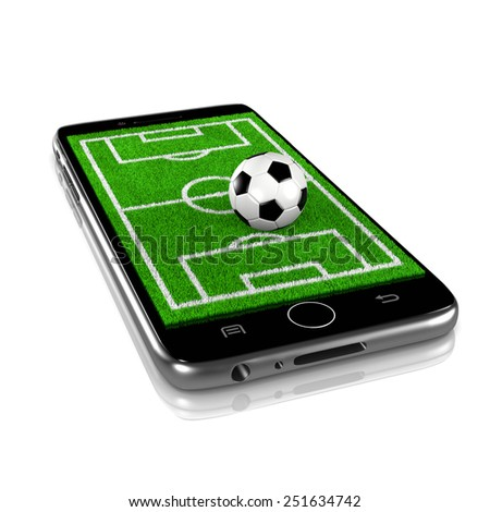Soccer Grass Field with Soccer Ball on Smartphone Display 3D Illustration Isolated on White Background - stock photo