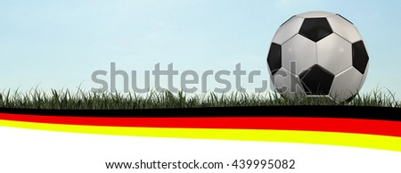Soccer Header Germany flag with a football on the grass - 3d rendering