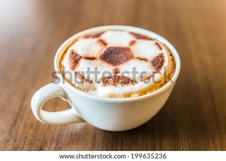 Soccer latte coffee