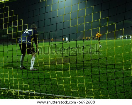 soccer match. goalkeeper - stock photo