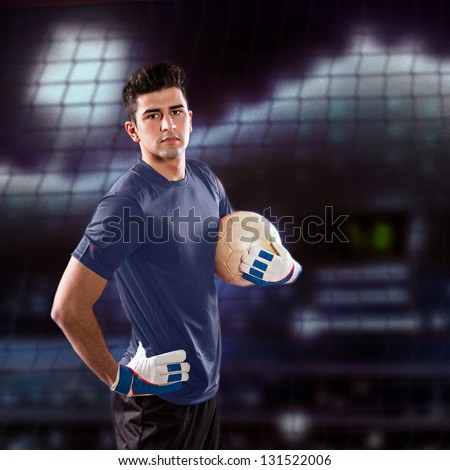 soccer or football  goalkeeper on the field