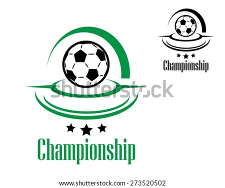 Soccer or football icon with ball and championship text for sports design - stock photo