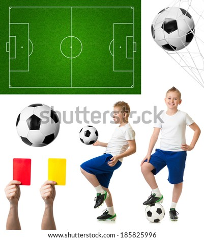 Soccer or football set including ball, player, field - stock photo