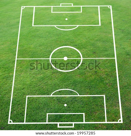 Soccer pitch with perspective smooth surface - stock photo
