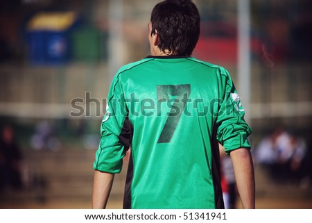 Soccer player back - stock photo