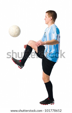 Soccer player control a ball, white  background. - stock photo