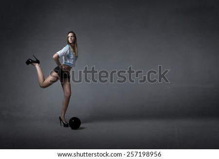 soccer player in a fashionable kick - stock photo