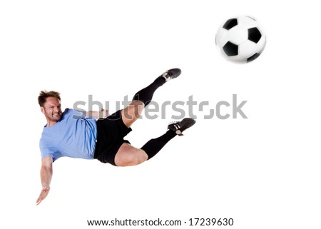 Soccer player in action. Full isolated studio picture - stock photo