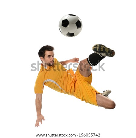 Soccer player in action isolated over white background - stock photo