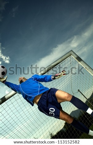 Soccer player in goal