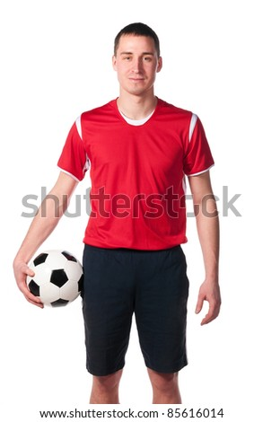 soccer player is holding ball isolated on white - stock photo