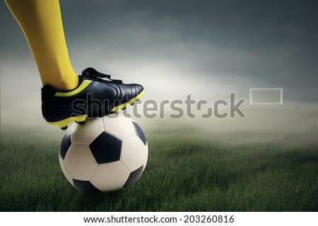 Soccer player ready to kick the ball leads to the gate at field - stock photo