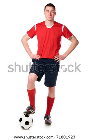 soccer player with ball full length isolated on white - stock photo