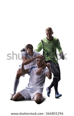 Soccer players  celebrate the victory isolated white