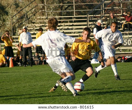 Soccer players fight for the ball. (Editorial use only) - stock photo