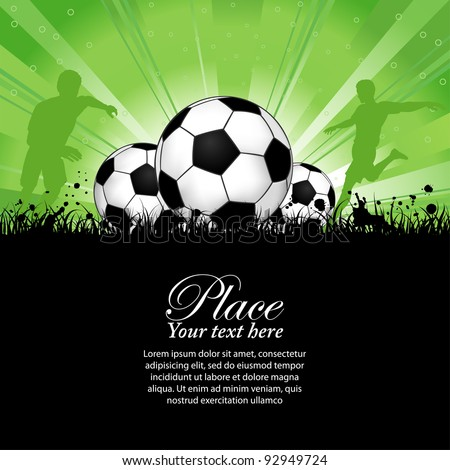Soccer Players with ball on grunge background, element for design, raster version - stock photo