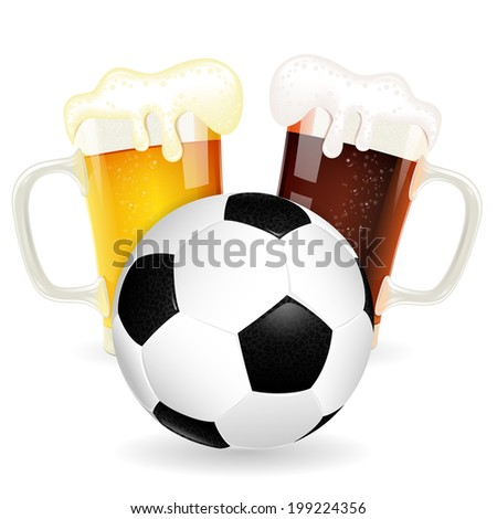 Soccer Poster with Ball and Glasses of Beer, isolated on white - stock photo