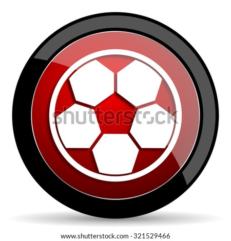 soccer red circle glossy web icon on white background, round button for internet and mobile app
