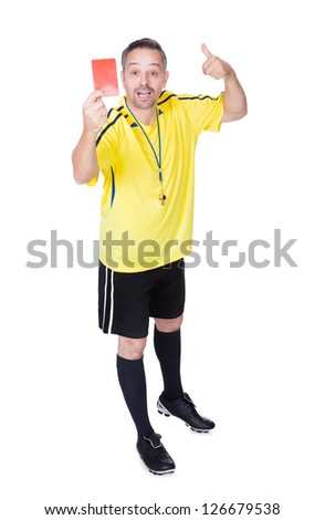 Soccer Referee Showing Red Card On White Background