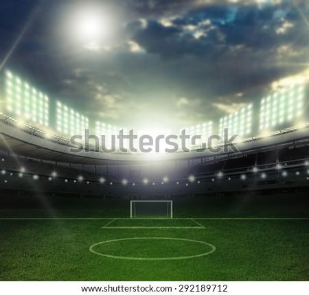 Soccer, stadium, goal. - stock photo