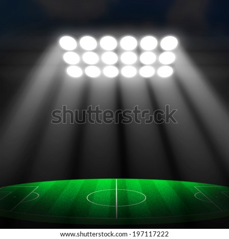 Soccer stadium, soccer ball on green stadium - stock photo