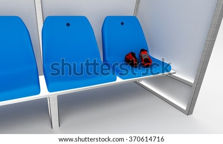 Soccer substitutions players chairs - stock photo