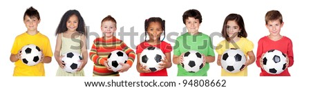 Soccer team isolated on a over white background - stock photo