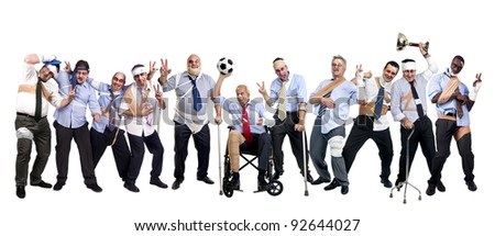 Soccer team of injured businessmen after a tough game - stock photo