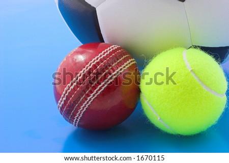 Soccer,tennis and crickert balls - stock photo