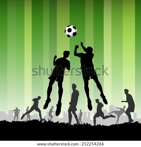 Soccer with Players on green background - stock photo