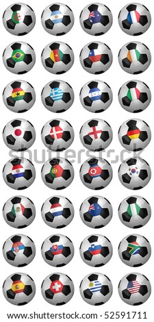 Soccer world championship 2010 - complete set of soccer balls with country flags of all competing nations over white background - stock photo