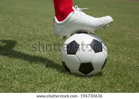 Soccesr player and ball isolated with white background - stock photo